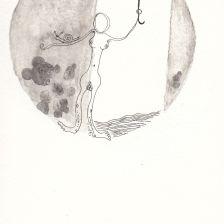 Numme avec un parapluie et un escargot