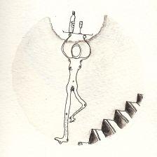 Numme qui porte un plateau et des escaliers