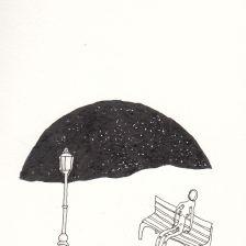 Numme sur un banc la nuit les pieds dans une flaque et un lampadaire