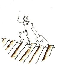 Numme en retard avec une valise sur un pont